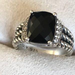 Authentic David Yurman Onyx Ring with Diamonds